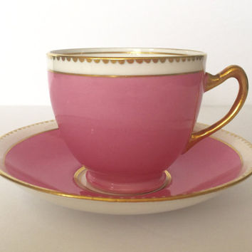 Pink and Gold Royal Stafford China Tea Cup & Saucer