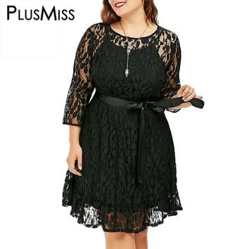 Plus Size 9XL 8XL 7XL 6XL 5XL Sexy Black Lace Dress With Belt Women Vintage Elegant Floral Crochet Party Dress Robe Femme