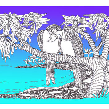 Love Birds in Paradise, A new Zentangle Blank Greeting Card, Original Illustration, Giclee Printing