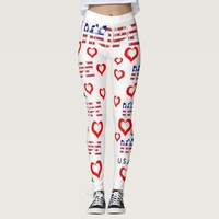 American flag hope typography and red heart leggings