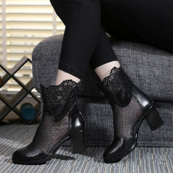 2017 Spring Womens Ankle Boots Black Lace Mesh Sexy Shoes 6.5 CM High Heel Boot Ladies Genuine Leather Crystal Lace Shoe Fashion