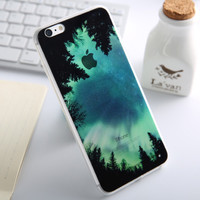 Fashion Thin Soft Silicone Forest Woods Transparent Back Cover Case For Apple iPhone SE 5s / 6 6s / Plus
