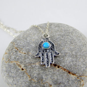 Small silver hamsa with blue opal, tinny hamsa necklace, hamsa protection necklace,sterling silver, hand of hamsa, everyday necklace