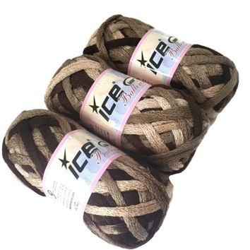 Lot 3 Ice Yarns Ballerina Brown Shades Ruffle Scarf Bulky Yarn 20682