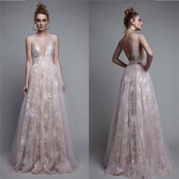 Sexy Deep V-Neck Evening Dress Long 2017 Backless Champagn Prom Gowns Vestido de Festa Longo Lace Formal Wedding Party Gown