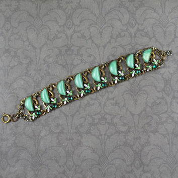 Vintage 1920s to 30s Art Deco Czech Neiger Brothers Leaf Enamel White and Green Linked Bracelet