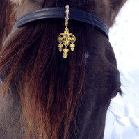 Gold Amber and Yellow Chandelier - Browband Accent for Horse Bridle