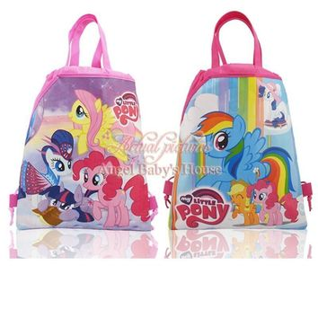 Hot 12Pcs My Little Ponies Cartoon Children Drawstring Backpacks School Party Bags,Party Favors,34*27cm Kids Gift