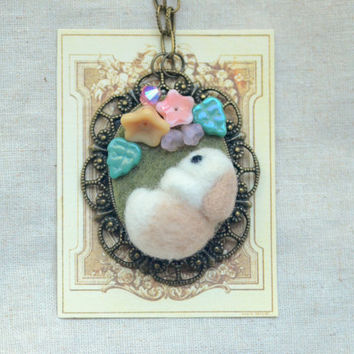 Needle felted rabbit with flowers necklace, handmade bunny pendant necklace, whimsical jewelry, lolita jewelry, gift under 25