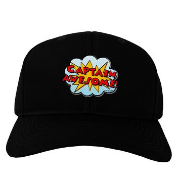 Captain Awesome - Superhero Style Adult Dark Baseball Cap Hat by TooLoud