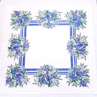 1930s Tablecloth French Blue Cotton Print