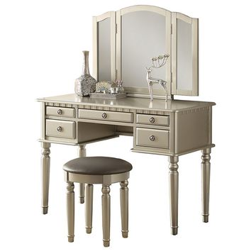 3 pc silver finish wood make up bedroom vanity set with curved legs stool and tri fold mirror with multiple drawers