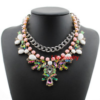 Silver Chain Statement Necklace Layers Bib Necklace Jewelry Large Rhinestone Flower Bib Necklace Bubble Choker Prom Jewelry For Women