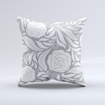 Gray Floral Pattern V3 ink-Fuzed Decorative Throw Pillow