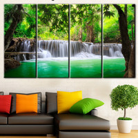 Waterfall, beautiful waterfall, River Falls canvas, green leaves picture, nature, trees over the water, Falls on canvas art, canvas print