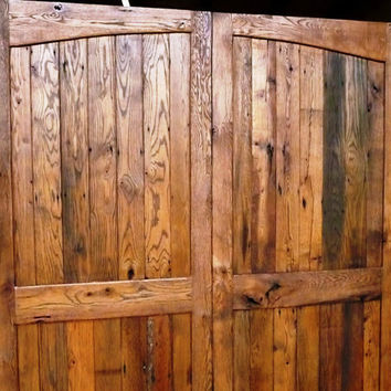 Sliding Barn Door - Antique Reclaimed Wood - Dual Radius Arch Design  (Pair)