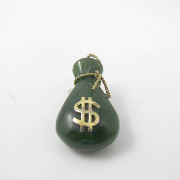 Carved Green Jade Money Bag Sack Pendant Charm. Silver Vermeil Dollar Sign. Chinese Export Carved Green Jade Good Luck Jewelry