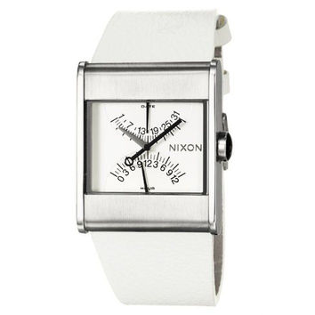 Nixon A039100 Men's R1G1 White Dial White Leather Strap Watch