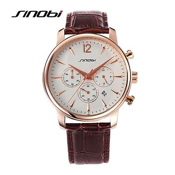 Causal Men Wrist Watches for Luxury Top luxury Chronograph Leather Watchband Males Quartz clock Homes