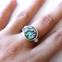 Abalone Wire Wrapped Ring- Rainbow Paua Shell Handmade Wrap Finger Jewelry Size 6.5
