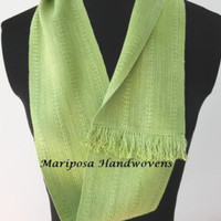 Hand Woven Hand-dyed Leaf Green Silk Infinity Scarf, Lime Loop Scarf - Edit Listing - Etsy
