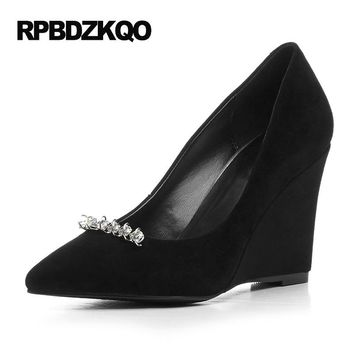 Black Pumps Small Size Suede High Heels Genuine Leather Crystal 4 34 Party Wedge Women Pointed Toe Rhinestone Discount Pink