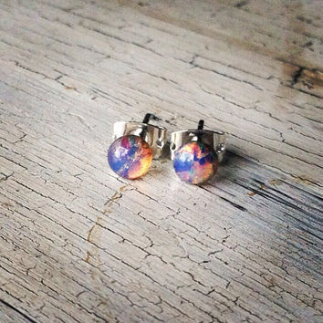 Glass Opal Studs - Vintage Stud Earrings - Opal Colored Earrings, Small Studs