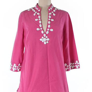 Lilly Pulitzer Hot Pink Beaded Tunic Size 8