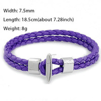 Trendsmax 7.5/8mm 2 Strand White Blue Red Brown Black Braided Rope Stainless Steel Surf Lariat Leather Bracelet Unisex LBW103