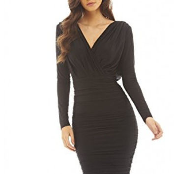 Black V-Front Wrap Long Sleeve Slinky Midi Dress