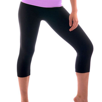 Basic Black Crop Leggings with Color Waist Band - 10 Colors