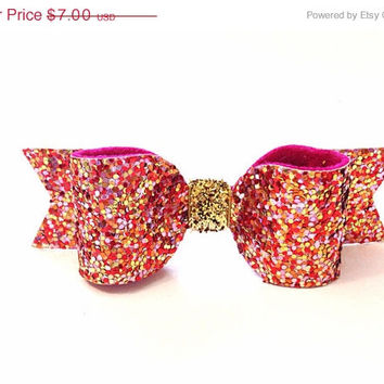 CIJ Pink Confetti Glitter Hair Bow. Pink Glitter hair clip / Sparkly hair clip / Meghan and Julie / Cute hair bows / Pretty hair bows