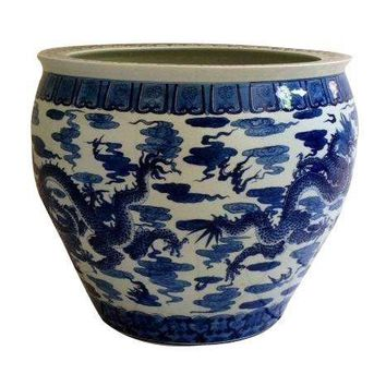 Pre-owned Large Asian Blue & White Ceramic Planter