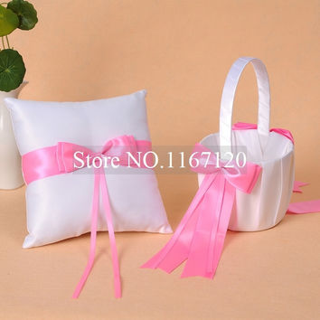 Free Shipping,New arrived White and Hot Pink Bowknot Satin Wedding Flower Girl Basket and Ring Pillow Set  Party Favors(BR04)