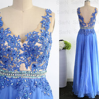 Blue Lace Prom Dresses, Couture Blue Lace Chiffon  Long Formal Gown, Lace Straps V Neck Long Chiffon Prom Gown, Blue Lace Gown