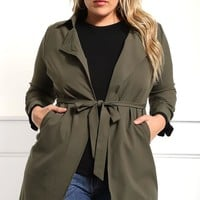 Glam Forest Plus Size Belted Coat Jackets+ GS-LOVE