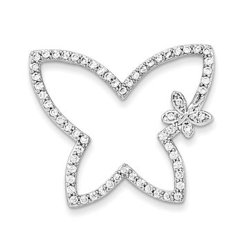 Sterling Silver CZ Butterfly Chain Slide