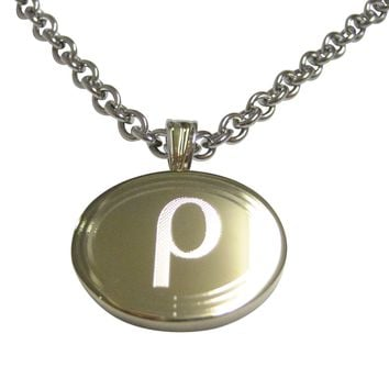 Gold Toned Etched Oval Greek Letter Rho Pendant Necklace