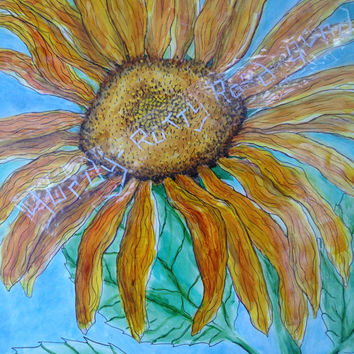 5x7 inch Sunflower Greeting Card; Original Art Card Print by Oklahoma Artist; mixed media including markers, inks, pencil