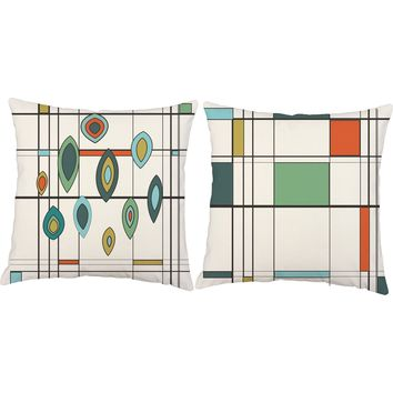 Mid Century Mod Geometric Throw Pillows