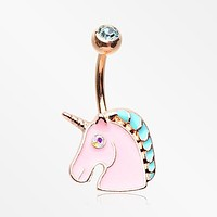 Rose Gold Stay Magical Unicorn Sparkle Belly Button Ring
