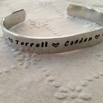 Personalized Hand Stamped  Name Aluminum Cuff by KennabelleDesigns