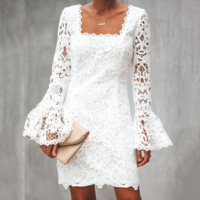 Explosion style fashion crochet lace long sleeve bag hip dress