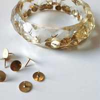 Black friday coupon code CHRISTMAS14. Resin BANGLE GOLD pushpins. Resin bracelet.luxury chic cuff