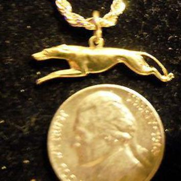 bling gold plated pet gray hound running dog animal charm chain necklace hip hop