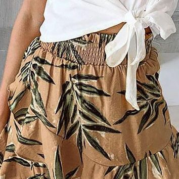 Under The Palms Brown Green Leaf Pattern Elastic Waist Ruffle Flare A Line Mini Skirt