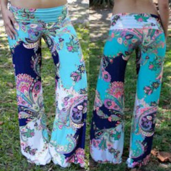 Blue Floral Printed  Pants