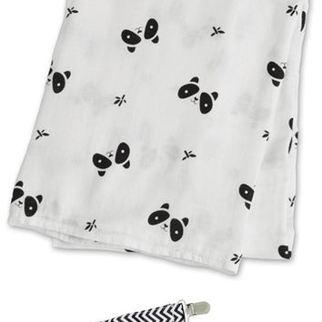 "Lulujo LJ110 Panda Bamboo Muslin Cotton Swaddling Blanket 47""x47"" with Pacifier Clip"