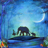 Elephant Walk  Giclee Painting Print by Annya Kai by annya127