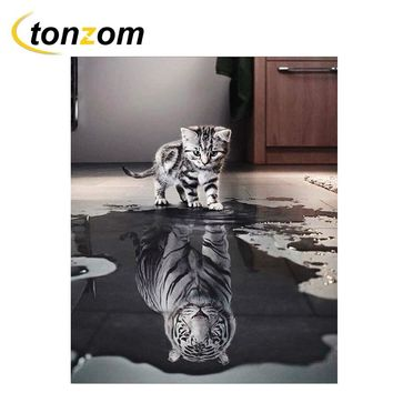 RIHE Cat Inverted Tiger Diy Painting By Numbers Abstract Animal Oil Painting On Cuadros Decoracion Acrylic Drawing Wall Art